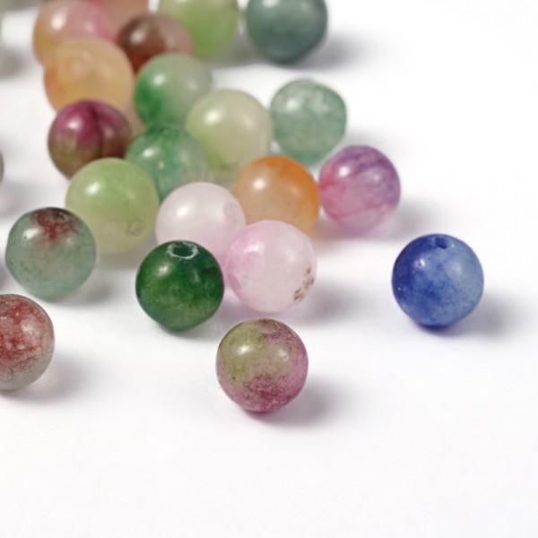 50 natürliche Jadeperlen gefärbt glatt und glänzend 6 mm