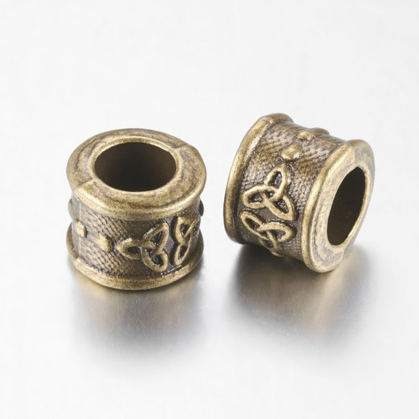 5 Großlochperlen antik bronzefarben