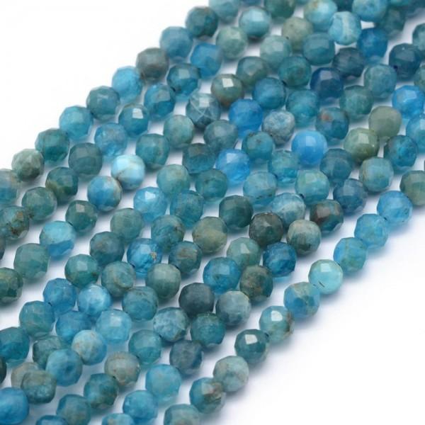 Natürlicher Apatit Perlenstrang facettiert 2 mm (ca. 150 Perlen / ca. 39 cm Länge)