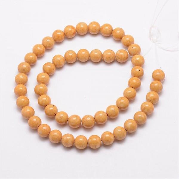 Fossiler Perlenstrang dunkel goldfarben 4 mm (ca. 100 Perlen / ca. 38,5 cm Länge)