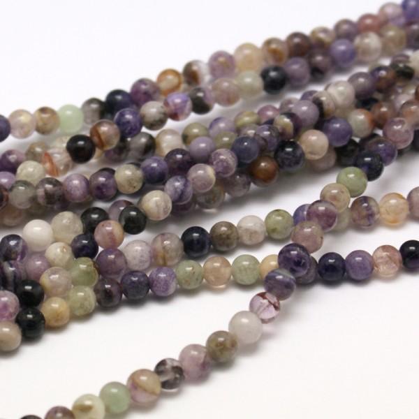 50 natürliche Fluorit Perlen rund glatt glänzend 6 mm