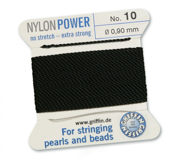 Griffin Perlseide Nylon Power schwarz No. 10 mit Nadel 0,90 mm