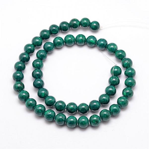 Fossiler Perlenstrang grün 4 mm (ca. 100 Perlen / ca. 38,5 cm Länge)