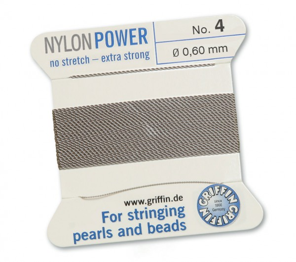 Griffin Perlseide Nylon Power No 4 grau mit Nadel 0,60 mm