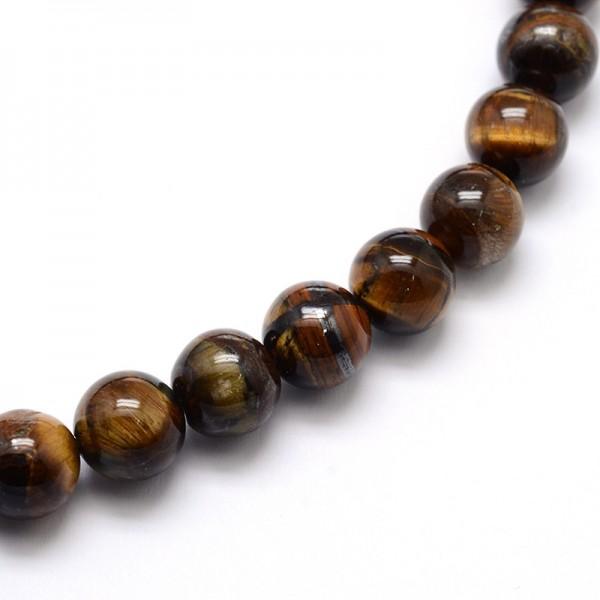 Natürlicher Tigeraugen Perlenstrang Klasse AB glatt glänzend 4 mm