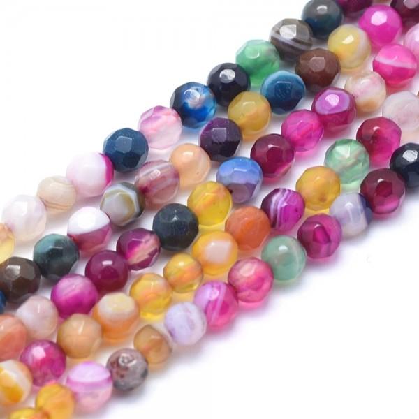 Natürlicher Achat Perlenstrang facettiert gefärbt gemischte Farben 6 mm (ca. 61 Perlen / ca. 36,5 cm