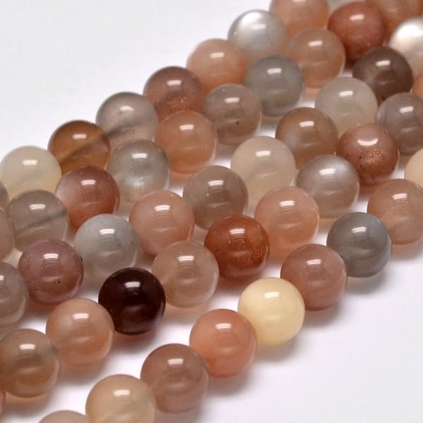 10 natürliche Mondstein Perlen rund glatt glänzend 8 mm