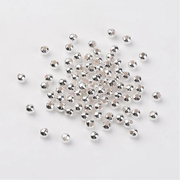 20 runde Eisen Zwischenperlen Spacer silberfarben 5 mm