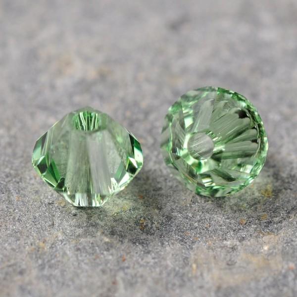 20 Österreichische Kristall Perlen grün Doppelkegel 4 mm