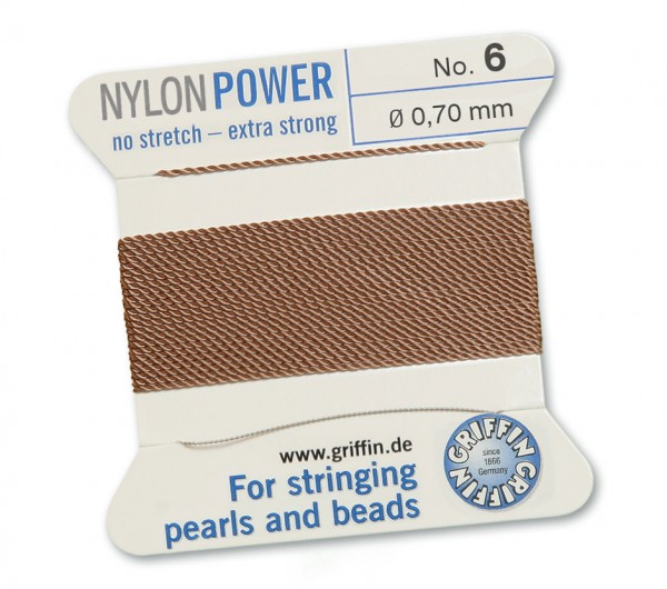 Griffin Perlseide Nylon Power No. 6 beige mit Nadel 0,70 mm
