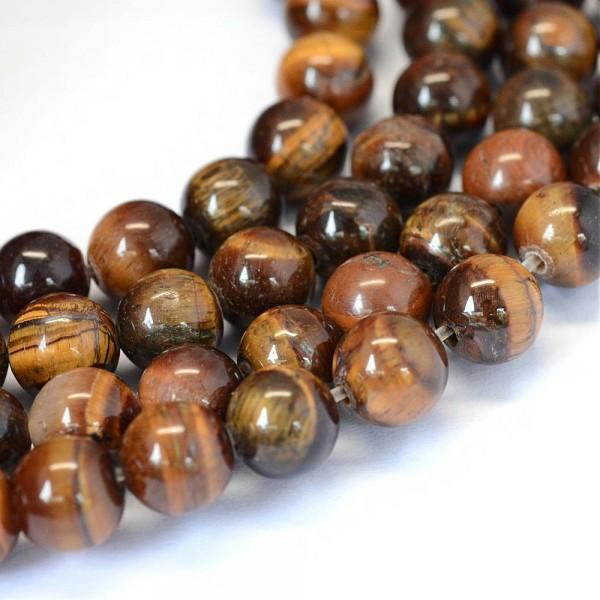 Natürlicher Tigeraugen Perlenstrang glatt glänzend 4 mm (ca. 90 Perlen / ca. 37 cm)