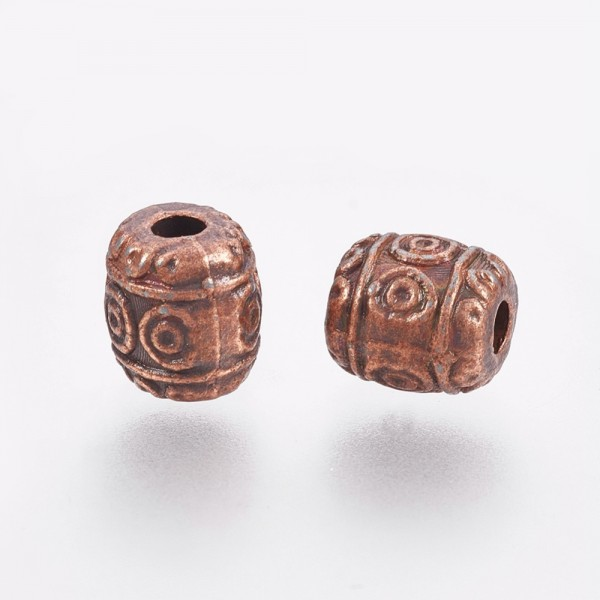 20 tibetische Metallperlen kupferfarben 6 mm