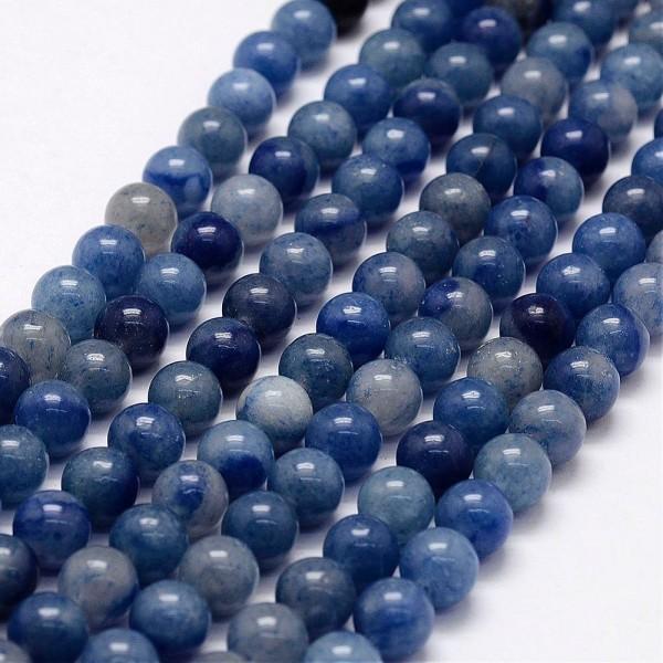 Natürlicher blauer Aventurin Perlenstrang rund 6 mm (ca. 65 Perlen / ca. 38 cm Länge)