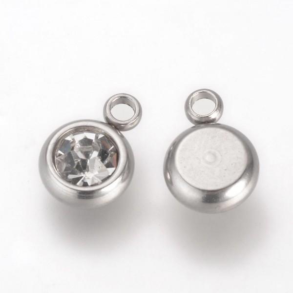 5 Edelstahl Charm mit transparentem Glas