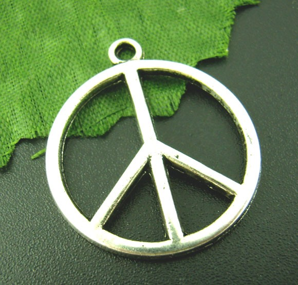3 Charm Anhänge Peace antik silberfarben