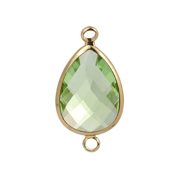 Verbinder mit Glas goldfarben facettiert hellgrün
