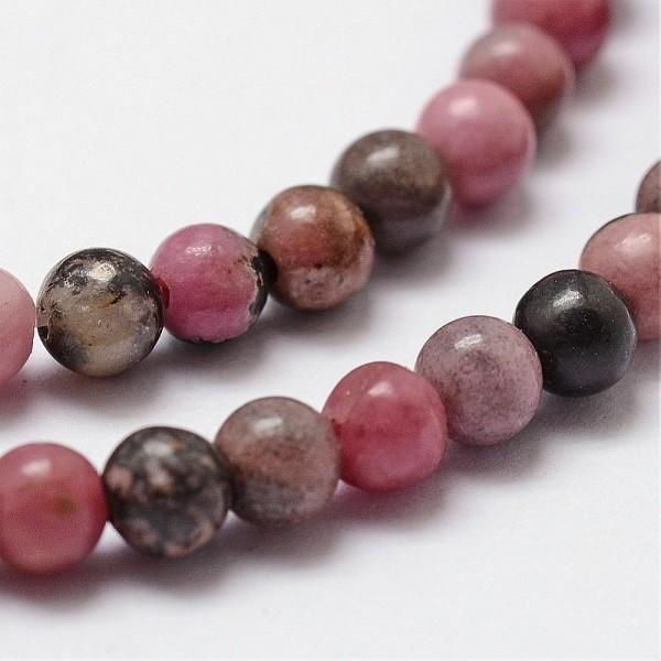 Natürlicher Rhodonit Perlenstrang glatt glänzend 6 mm (ca. 61 Perlen / ca. 39 cm Länge)