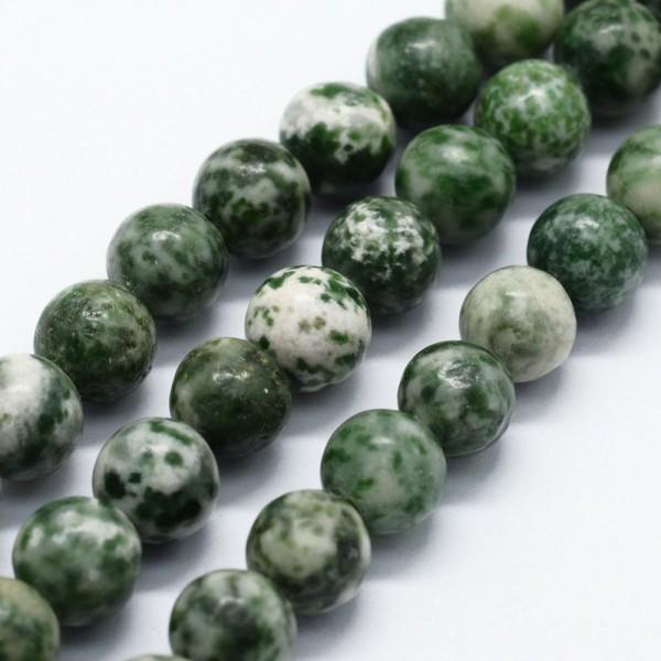 Natürliche Mineral Steinperlenstränge weiß grün glatt glänzend 8 mm (ca. 47 Perlen / ca. 38 cm Länge