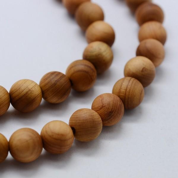 Natürlicher Holzperlen Strang rund 6 mm (ca. 66 Perlen / ca. 39,5 cm Länge)