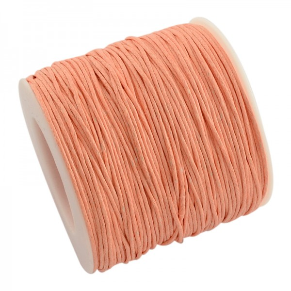 5 Meter gewachste Baumwollschnur lachsfarben Stärke 1 mm