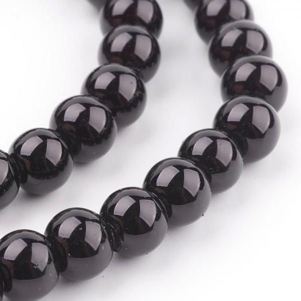 50 runde Glasperlen mit Perlglanz schwarz 8 mm