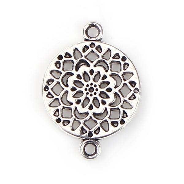 Verbinder mit Blumen Muster rund antik silberfarben 20 mm x 14 mm