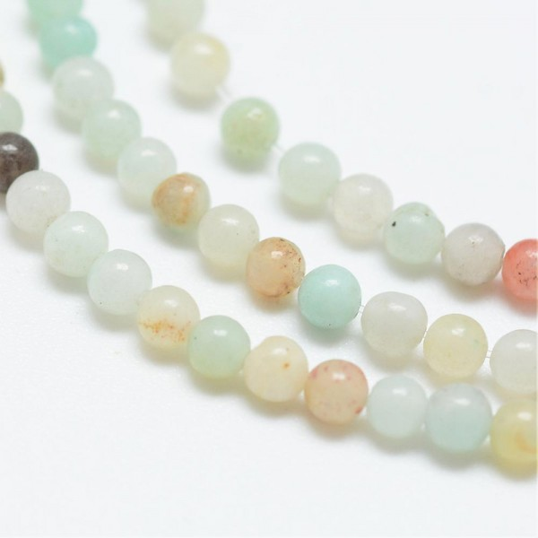 Natürlicher zierlicher Amazonit Perlenstrang rund glatt 3 mm (ca. 114 Perlen / ca. 39 cm Länge)