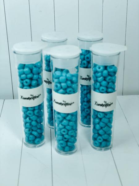 11 Gramm Rocailles Glasperlen rund 6/0 türkis 4-5 x 3-4 mm im Perlenbehälter