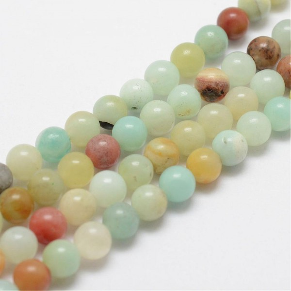 Natur Amazonit Perlen Strang rund 4 mm (ca. 95 Perlen / ca. 39 cm Länge)