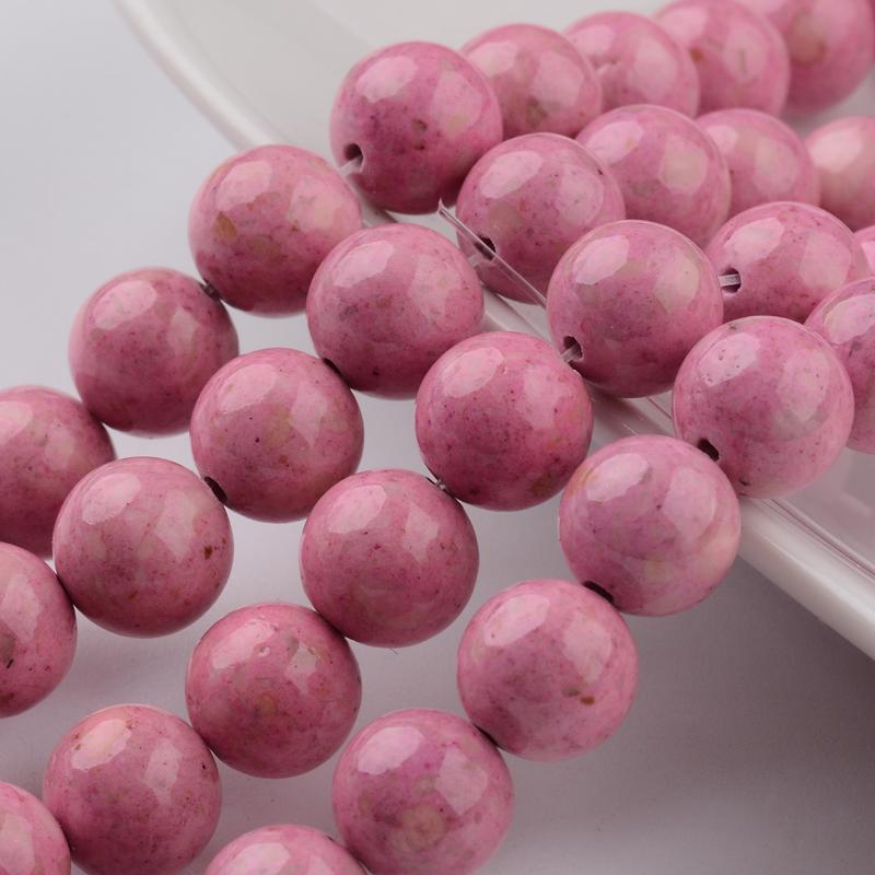 nat rlicher fossiler perlenstrang glatt gl nzend rosa 8 mm. Black Bedroom Furniture Sets. Home Design Ideas