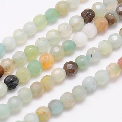 Natürlicher Amazonit Perlenstrang rund leicht facettiert 4 mm (ca. 90 Perlen / ca. 38 cm Länge)