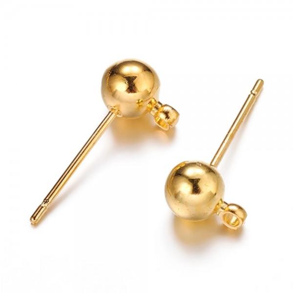 4 Metall Kugelohrstecker mit Anhängeröse goldfarben 15 x 5 mm mit weichem Ohrstopper
