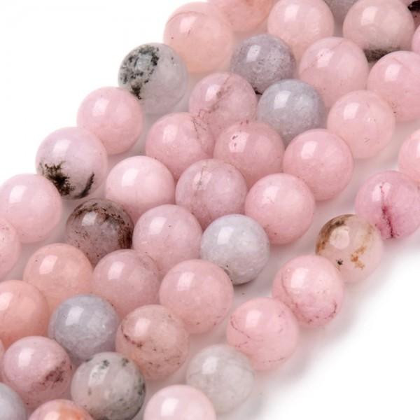 Natürlicher Kirschblüten Jaspis Perlenstrang rund glatt glänzend 8 mm (ca. 47 Perlen / ca. 38,5 cm L