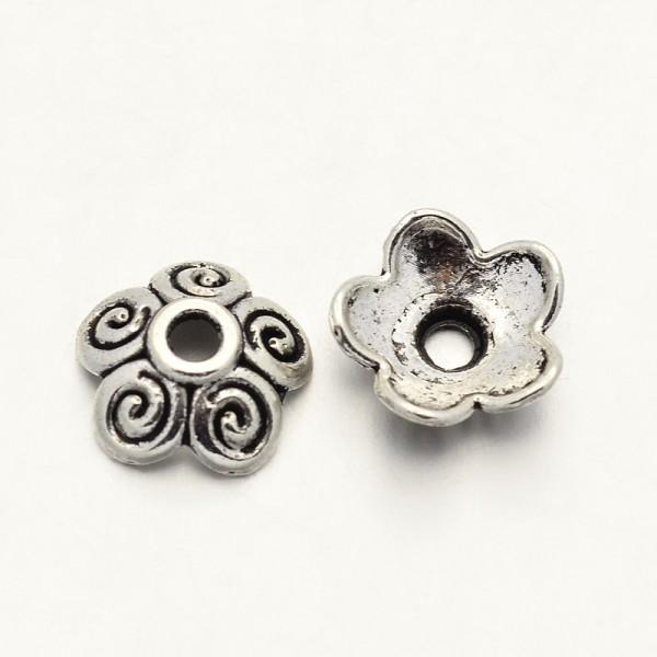 20 Perlkappen tibetischer Stil antik silberfarben 10 mm