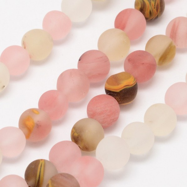 Wassermelonen Glasperlenstrang matt rund 6 mm (ca. 60 Perlen / ca. 39 cm Länge)