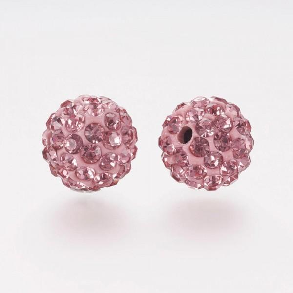 2 Polymer Strass Perlen Klasse A rund rosa 8 x 7,5 mm