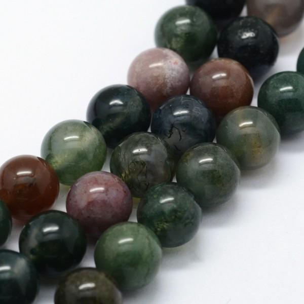 Natürlicher indischer Achatperlenstrang 4 mm (ca. 95 Perlen / ca. 37,5 cm Länge)