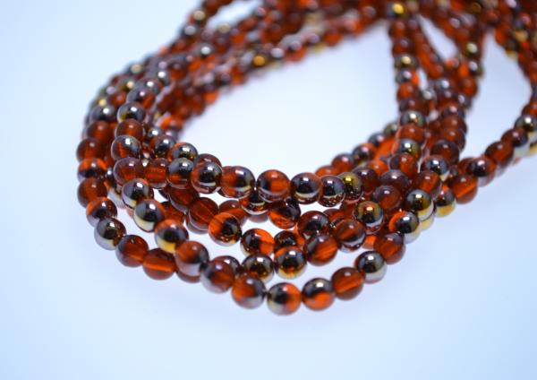 1 Strang hochwertige tschechische Glasperlen rot goldfarben 5 mm (ca. 50 Perlen / ca. 26 cm Länge)