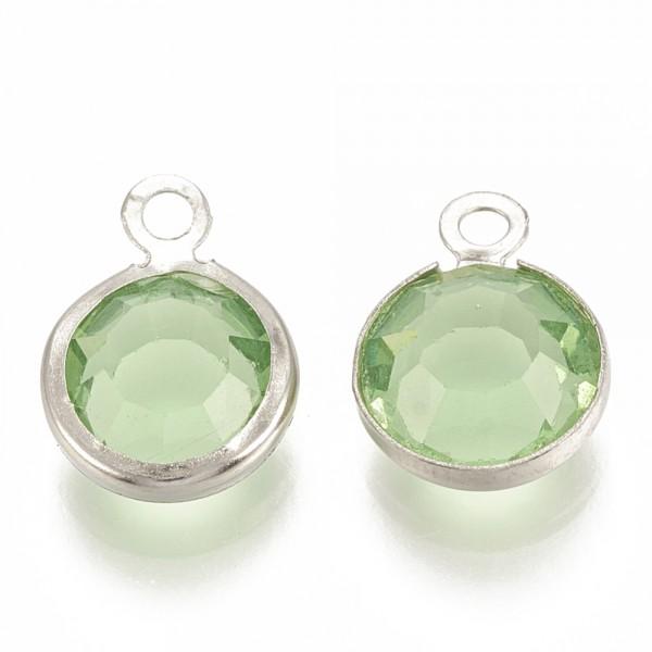 3 Edelstahl Charm Anhänger mit Glas flach rund facettiert hellgrün