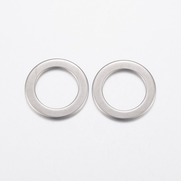 3 Edelstahl Verbinder Ringe flach rund 21 x 1,2 mm