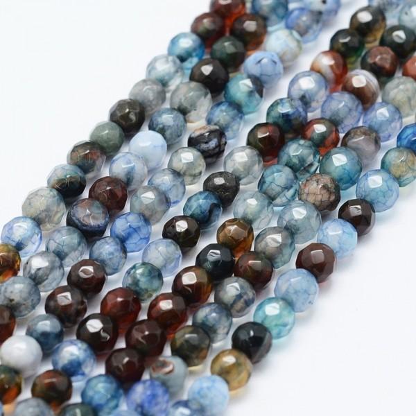 Facettierter Achat Perlenstrang gefärbt 4 mm (ca. 92 Perlen / ca. 37 cm Länge)