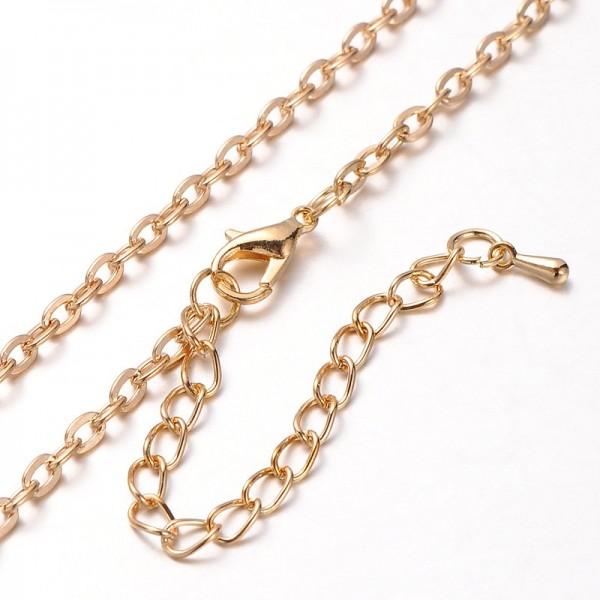 Eisen Halskette mit Karabinerverschluss goldfarben 81 cm Länge