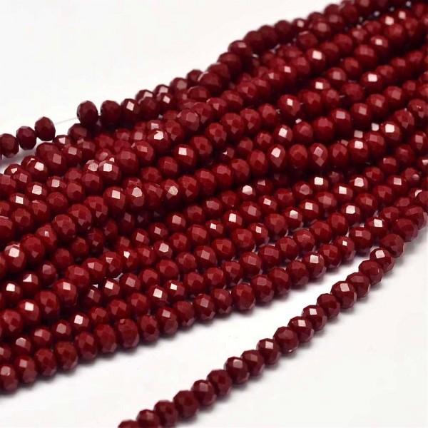 1 Strang Glasperlen facettiert Abakus rot (ca. 145 Perlen)