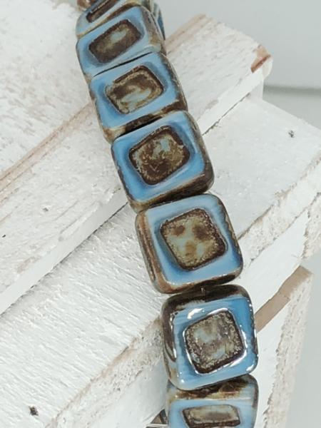 2 hochwertige tschechische quadratische Glasperlen blau braun 5 cm