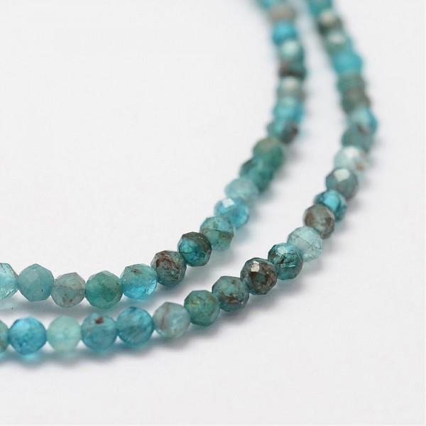 Natürlicher feiner Apatit Perlenstrang facettiert 2 mm (ca. 175 Perlen / ca. 38 cm Länge)