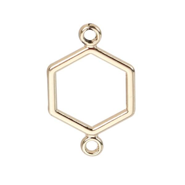 Verbinder Hexagon vergoldet 19 mm x 12 mm