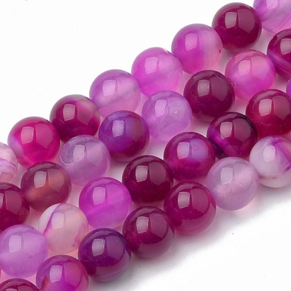 Runder Bandachat Perlenstrang dunkel violett glatt 8 mm glänzend (ca. 48 Perlen / ca. 37 cm Länge)