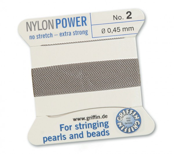Griffin Perlseide Nylon Power No 2 grau mit Nadel 0,45 mm
