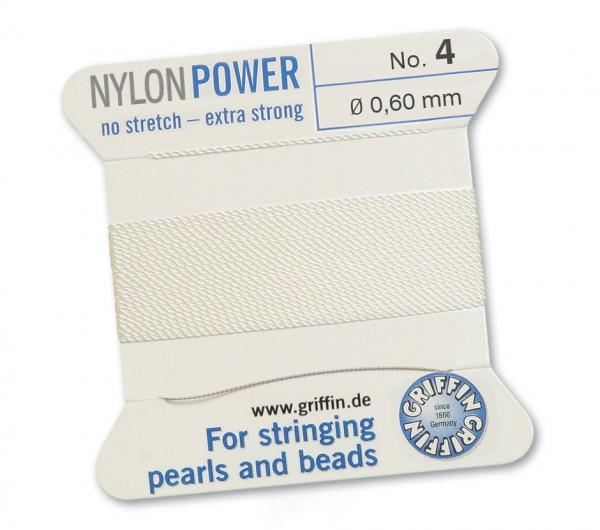 Griffin Perlseide Nylon Power No. 4 mit Nadel weiss Stärke 0,60 mm