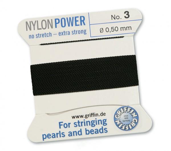 Griffin Perlseide Nylon Power schwarz No. 3 mit Nadel 0,50 mm